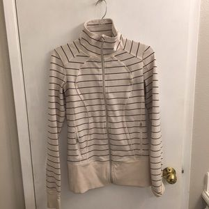 Lululemon cream stripe zip jacket. Size 8